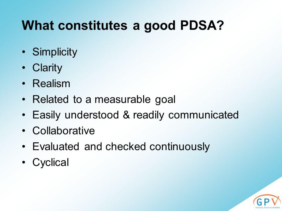 What constitutes a good PDSA.