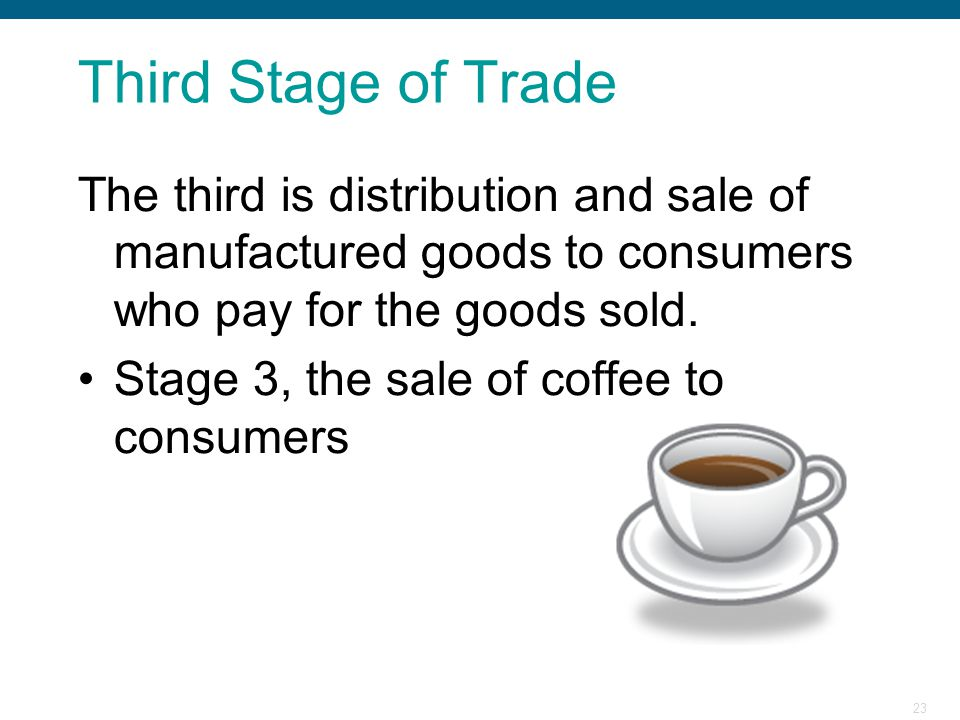 23 Third Stage of Trade The third is distribution and sale of manufactured goods to consumers who pay for the goods sold. Stage 3, the sale of coffee
