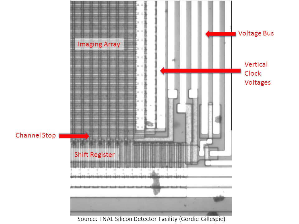 Source: FNAL Silicon Detector Facility (Gordie Gillespie) Shift Register Imaging Array Channel Stop Voltage Bus Vertical Clock Voltages