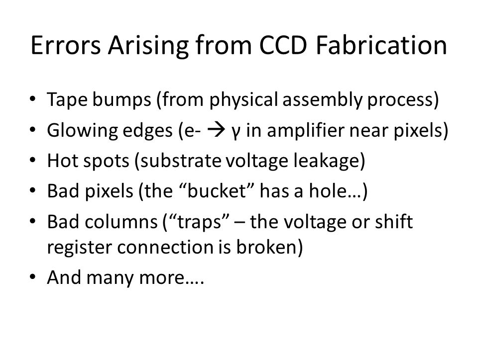 Errors Arising from CCD Fabrication Tape bumps (from physical assembly process) Glowing edges (e-  γ in amplifier near pixels) Hot spots (substrate v