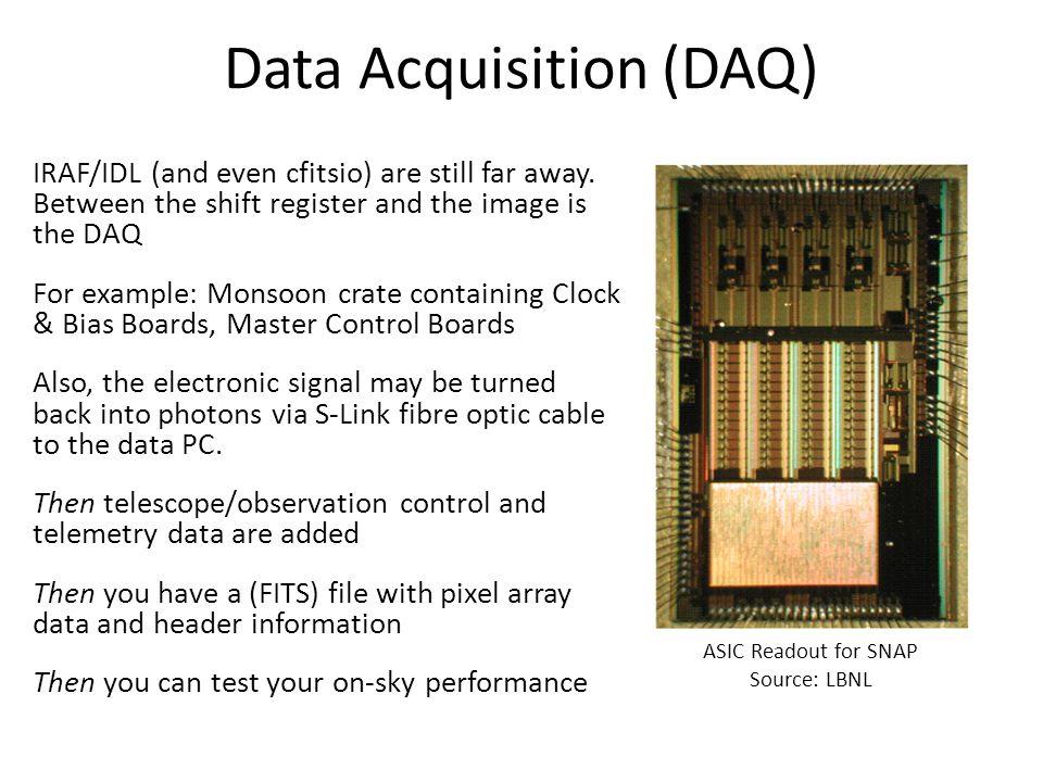 Data Acquisition (DAQ) IRAF/IDL (and even cfitsio) are still far away.