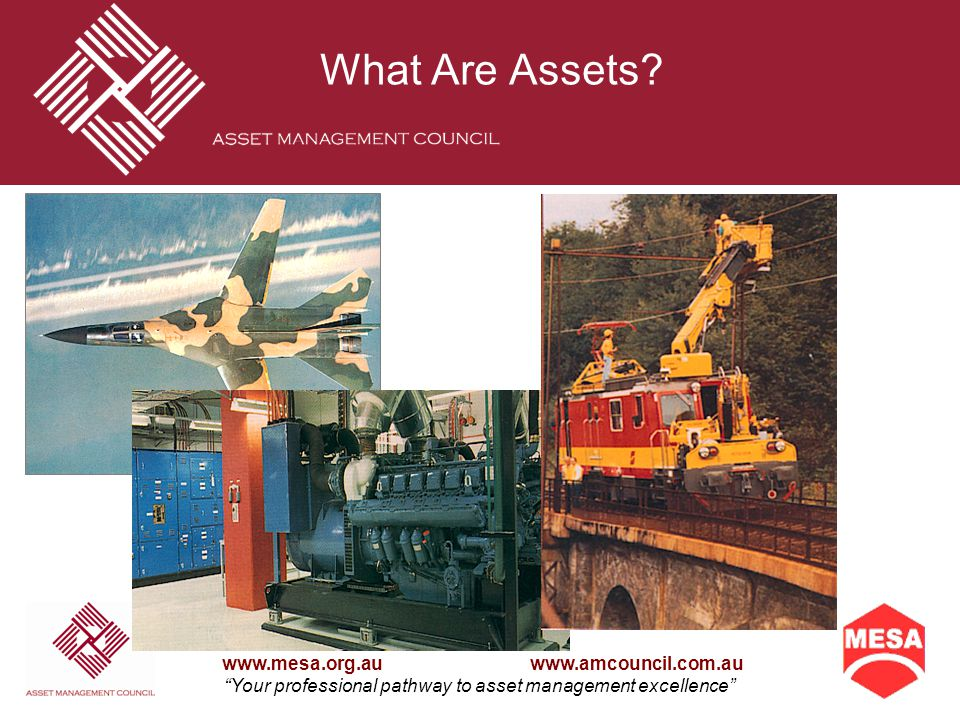The Maintenance Engineering Society of Australia Inc and Asset Management Council Inc www.mesa.org.au www.amcouncil.com.au Your professional pathway to asset management excellence What is asset management?