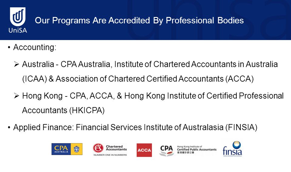 Accounting:  Australia - CPA Australia, Institute of Chartered Accountants in Australia (ICAA) & Association of Chartered Certified Accountants (ACCA