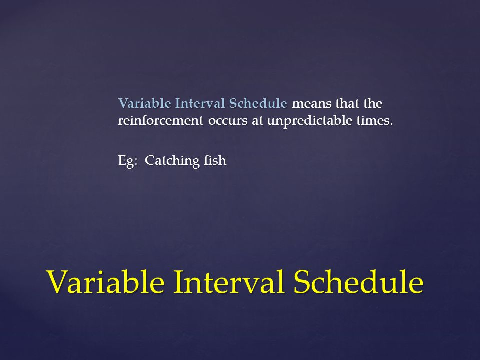 Variable Interval Schedule means that the reinforcement occurs at unpredictable times.