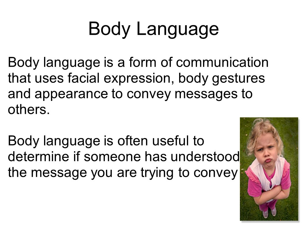 Body Language Body language is a form of communication that uses facial expression, body gestures and appearance to convey messages to others. Body la