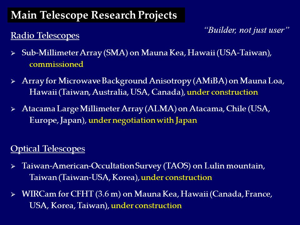  Partnership between Smithsonian Astrophysical Observatory (SAO) and ASIAA  Eight 6-meter antennas located at Mauna Kea, Hawaii (altitude 4080 m)  2 antennas constructed by ASIAA – increases number of baselines from 15 to 28.