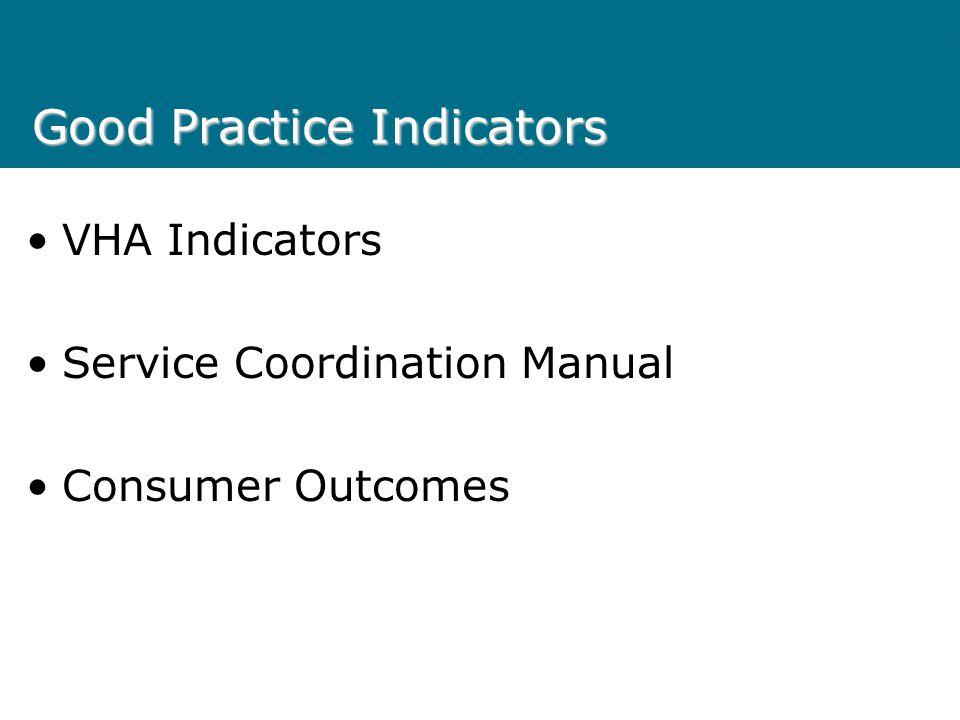 Good Practice Indicators VHA Indicators Service Coordination Manual Consumer Outcomes