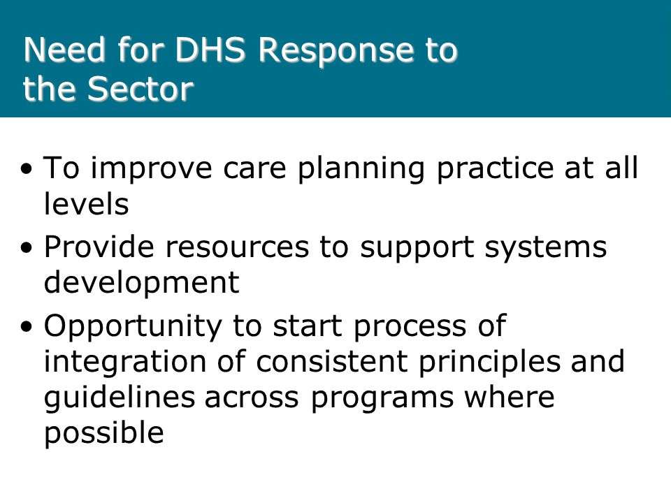 Need for DHS Response to the Sector To improve care planning practice at all levels Provide resources to support systems development Opportunity to st