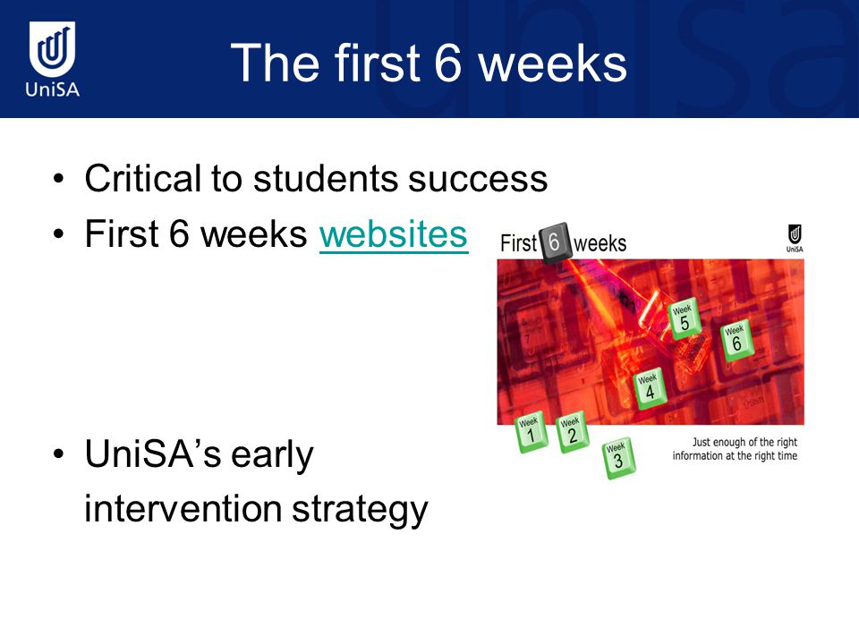 The first 6 weeks Critical to students success First 6 weeks websiteswebsites UniSA's early intervention strategy