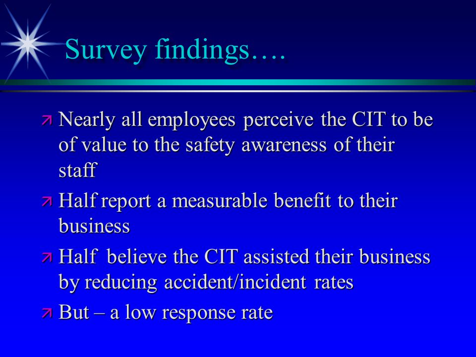 Survey findings….