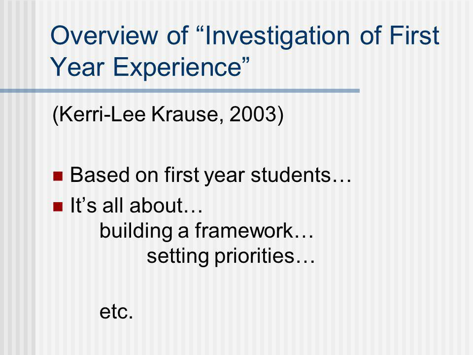 Overview of Investigation of First Year Experience (Kerri-Lee Krause, 2003) Based on first year students… It's all about… building a framework… setting priorities… etc.