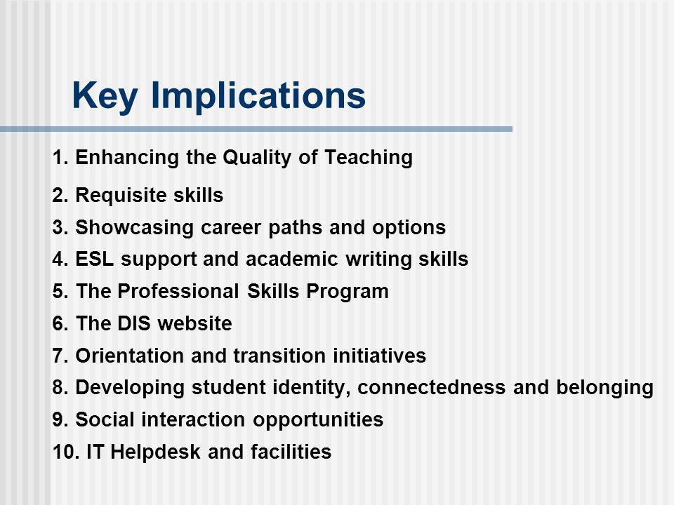 Key Implications 1. Enhancing the Quality of Teaching 2.