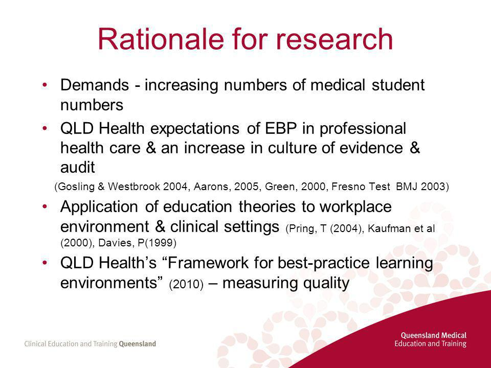 Rationale for research Demands - increasing numbers of medical student numbers QLD Health expectations of EBP in professional health care & an increase in culture of evidence & audit (Gosling & Westbrook 2004, Aarons, 2005, Green, 2000, Fresno Test BMJ 2003) Application of education theories to workplace environment & clinical settings (Pring, T (2004), Kaufman et al (2000), Davies, P(1999) QLD Health's Framework for best-practice learning environments (2010) – measuring quality