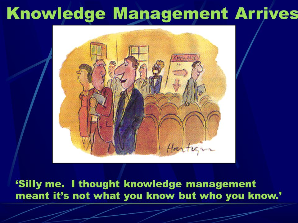 Knowledge Management Arrives 'Silly me.