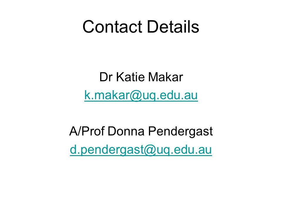 Contact Details Dr Katie Makar k.makar@uq.edu.au A/Prof Donna Pendergast d.pendergast@uq.edu.au