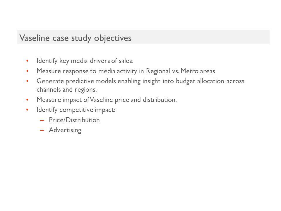 Vaseline case study objectives Identify key media drivers of sales.
