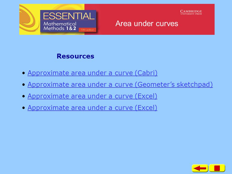 Area under curves Approximate area under a curve (Cabri) Approximate area under a curve (Geometer's sketchpad) Approximate area under a curve (Excel) Resources