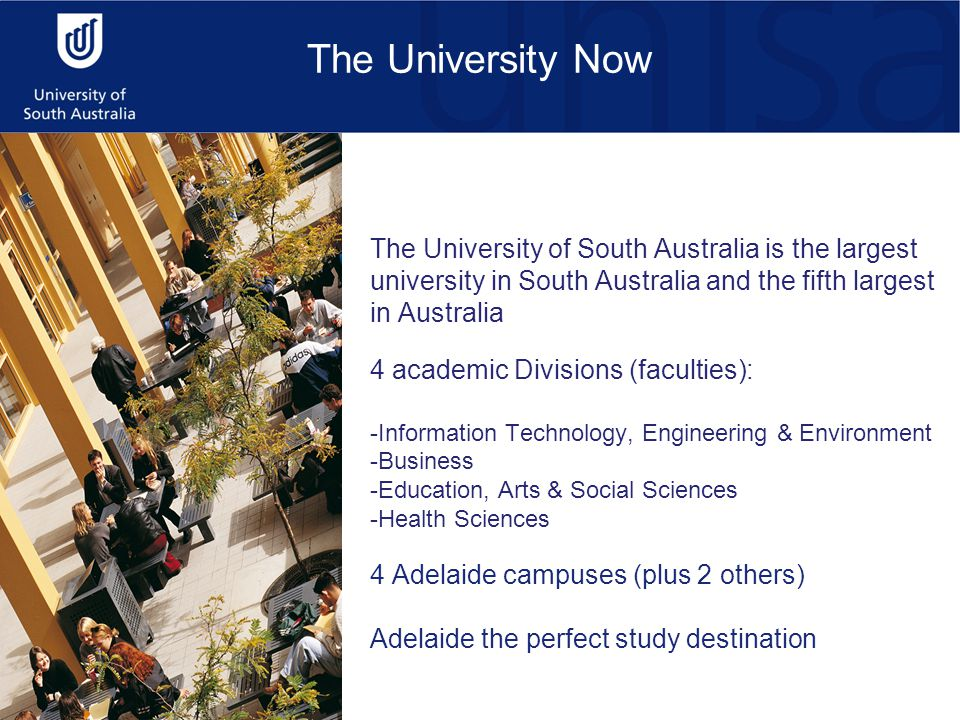 The University Now The University of South Australia is the largest university in South Australia and the fifth largest in Australia 4 academic Divisions (faculties): -Information Technology, Engineering & Environment -Business -Education, Arts & Social Sciences -Health Sciences 4 Adelaide campuses (plus 2 others) Adelaide the perfect study destination