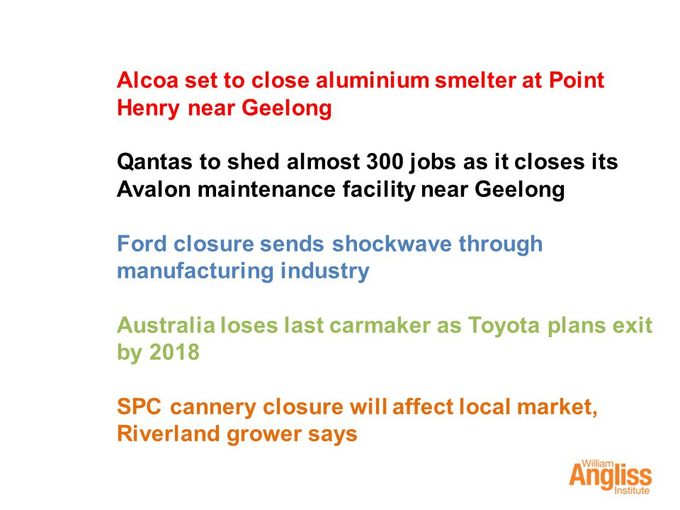 Alcoa set to close aluminium smelter at Point Henry near Geelong Qantas to shed almost 300 jobs as it closes its Avalon maintenance facility near Geel