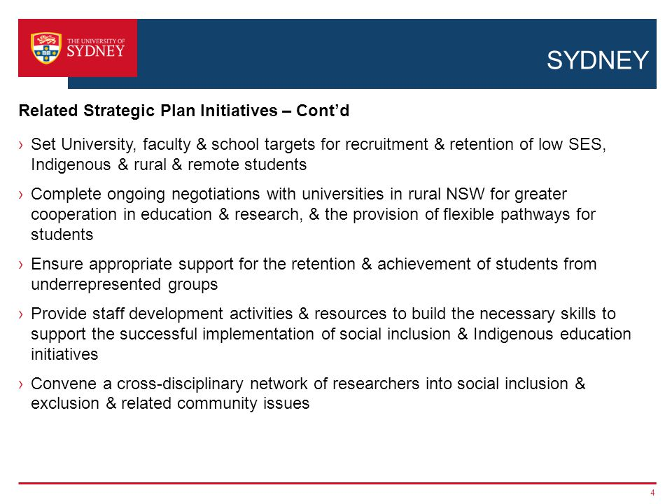 SYDNEY ›Strategy Fourteen: Develop & implement a coordinated University-wide framework for local & rural community engagement ›Strategy Fifteen: Deepen our engagement with a supportive network of alumni & friends – volunteer programs ›Strategy Four: Enrich the experience of University life for all our students -Review & develop the University's provision of services for student health, wellbeing & welfare - Support universal access by investing in implementation of the Disability Action Plan 2011–2015, including the allocation of disability officers & ongoing training for staff -Provide more affordable & appropriate student accommodation on & near the University's campuses, consistent with the Work Slate project on student accommodation -Undertake a feasibility study of the virtual colleges › Strategy Ten: Promote indigenous participation, engagement, education & research 5