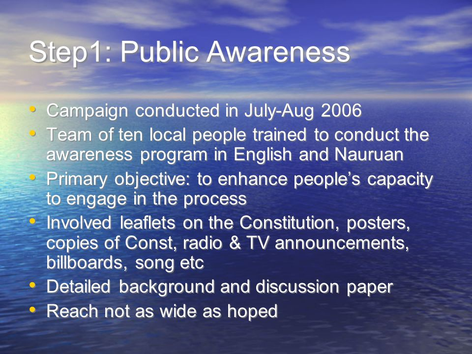 Step1: Public Awareness Campaign conducted in July-Aug 2006 Team of ten local people trained to conduct the awareness program in English and Nauruan Primary objective: to enhance people's capacity to engage in the process Involved leaflets on the Constitution, posters, copies of Const, radio & TV announcements, billboards, song etc Detailed background and discussion paper Reach not as wide as hoped Campaign conducted in July-Aug 2006 Team of ten local people trained to conduct the awareness program in English and Nauruan Primary objective: to enhance people's capacity to engage in the process Involved leaflets on the Constitution, posters, copies of Const, radio & TV announcements, billboards, song etc Detailed background and discussion paper Reach not as wide as hoped