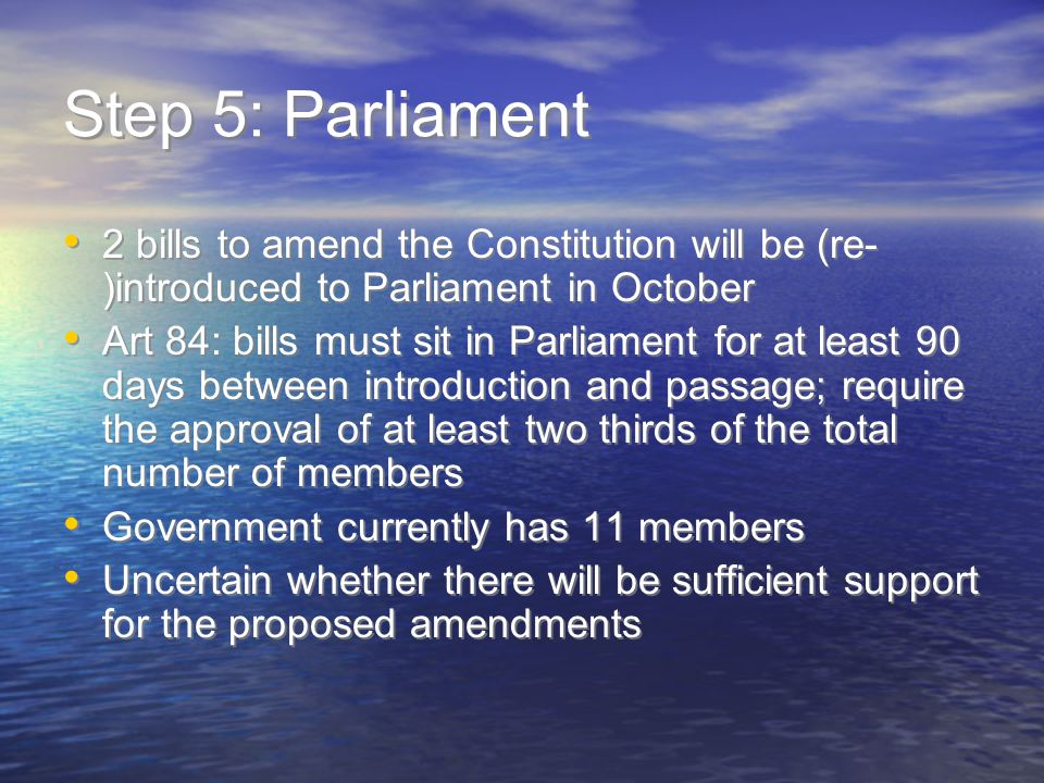Step 6: Referendum If bills are passed, referendum will be held only in relation to those Articles that require a referendum Referendum to be preceded by public awareness campaign Will be first referendum conducted in Nauru Prospects of success quite low If bills are passed, referendum will be held only in relation to those Articles that require a referendum Referendum to be preceded by public awareness campaign Will be first referendum conducted in Nauru Prospects of success quite low