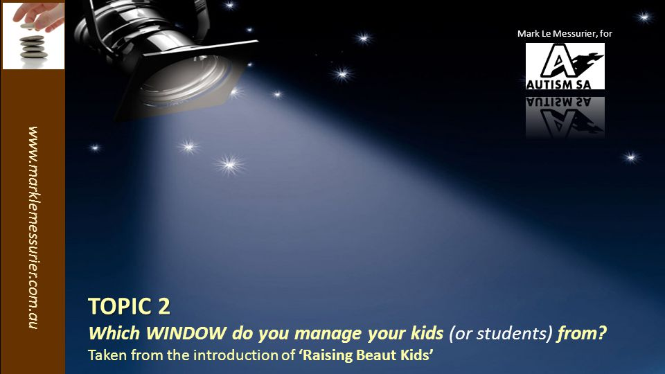 www.marklemessurier.com.au TOPIC 2 Which WINDOW do you manage your kids (or students) from.