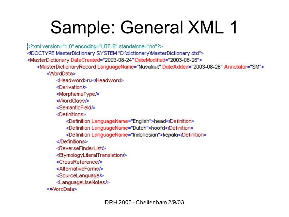 DRH 2003 - Cheltenham 2/9/03 Sample: General XML 1