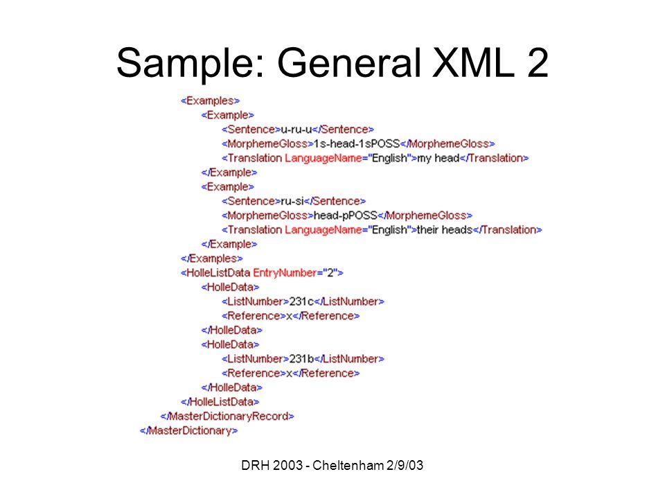 DRH 2003 - Cheltenham 2/9/03 Sample: General XML 2