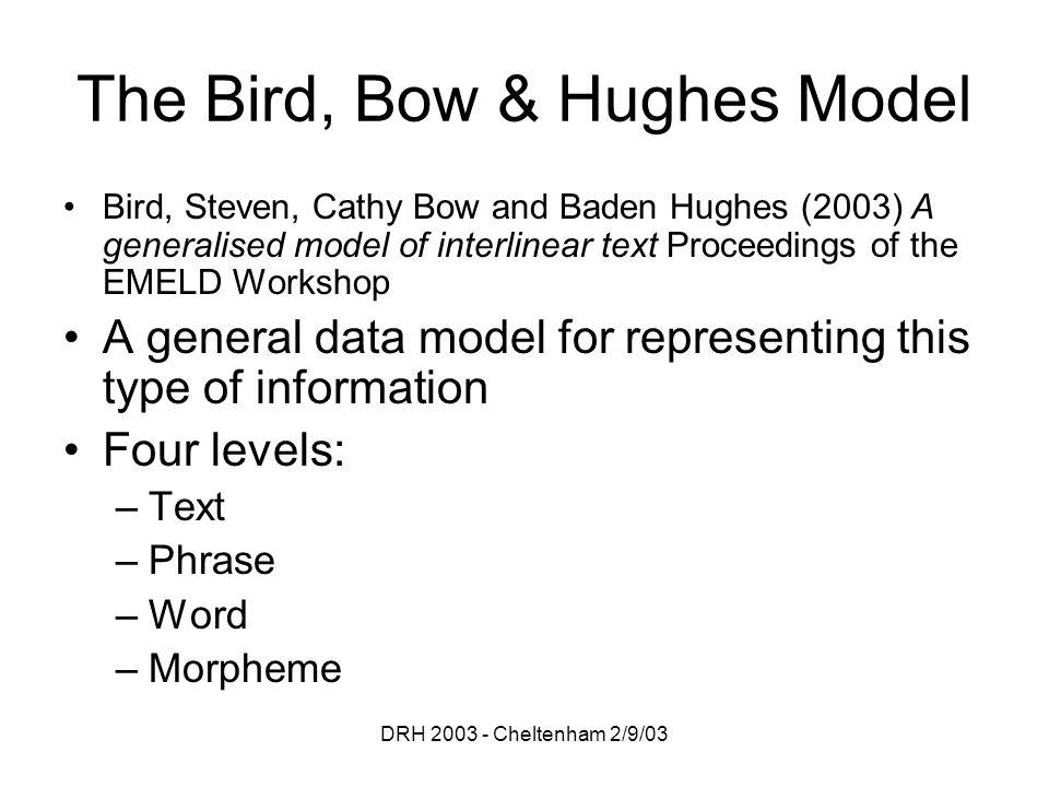DRH 2003 - Cheltenham 2/9/03 The Bird, Bow & Hughes Model Bird, Steven, Cathy Bow and Baden Hughes (2003) A generalised model of interlinear text Proc