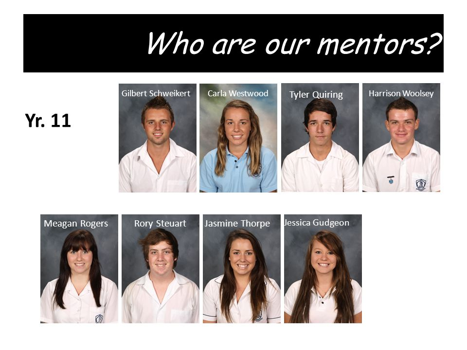 Who are our mentors. Gilbert SchweikertHarrison Woolsey Tyler Quiring Carla Westwood Yr.