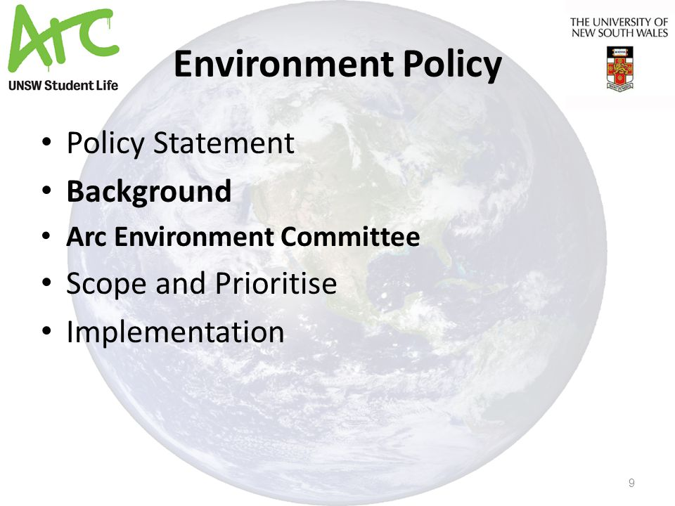 Environment Policy Policy Statement Background Arc Environment Committee Scope and Prioritise Implementation 9