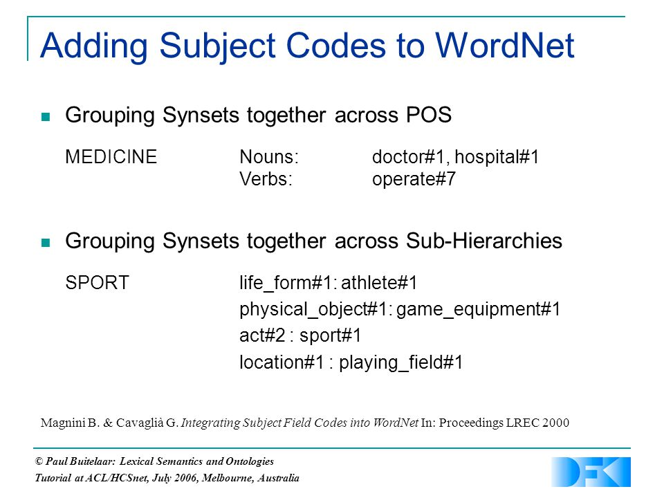 © Paul Buitelaar: Lexical Semantics and Ontologies Tutorial at ACL/HCSnet, July 2006, Melbourne, Australia Adding Subject Codes to WordNet Grouping Synsets together across POS MEDICINENouns:doctor#1, hospital#1 Verbs:operate#7 Grouping Synsets together across Sub-Hierarchies SPORTlife_form#1: athlete#1 physical_object#1: game_equipment#1 act#2 : sport#1 location#1 : playing_field#1 Magnini B.