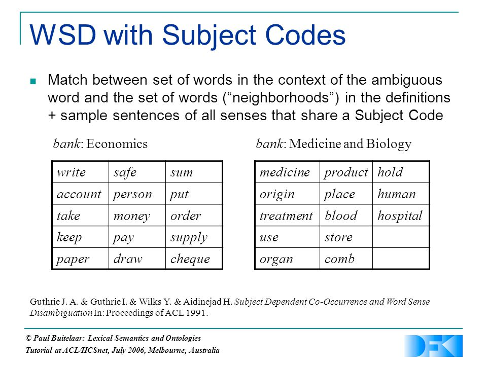 © Paul Buitelaar: Lexical Semantics and Ontologies Tutorial at ACL/HCSnet, July 2006, Melbourne, Australia WSD with Subject Codes Match between set of words in the context of the ambiguous word and the set of words ( neighborhoods ) in the definitions + sample sentences of all senses that share a Subject Code Guthrie J.
