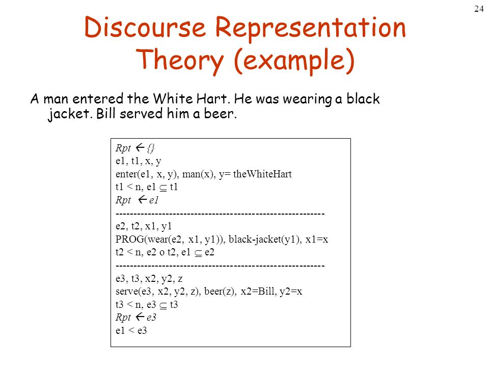 24 Discourse Representation Theory (example) A man entered the White Hart. He was wearing a black jacket. Bill served him a beer. Rpt  {} e1, t1, x,