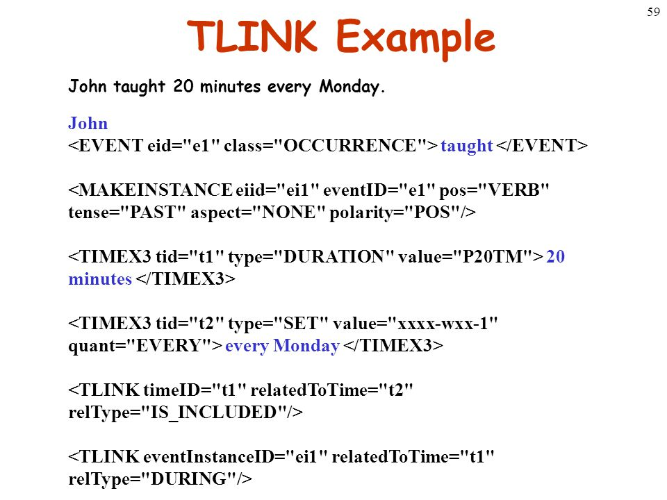 59 TLINK Example John taught 20 minutes every Monday. John taught 20 minutes every Monday