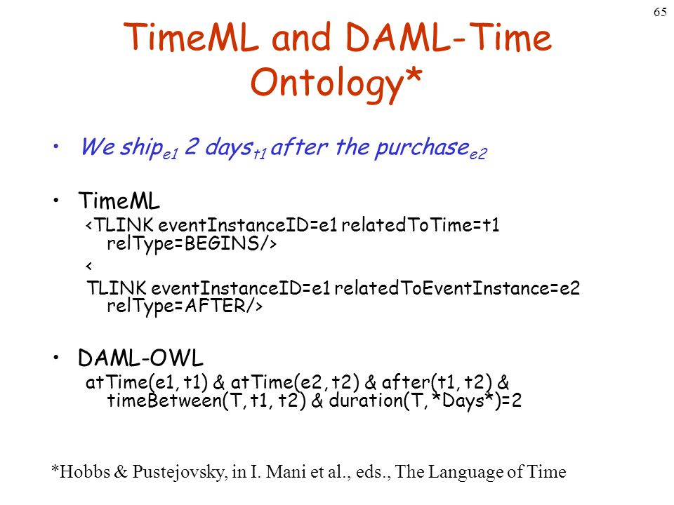 65 TimeML and DAML-Time Ontology* We ship e1 2 days t1 after the purchase e2 TimeML < TLINK eventInstanceID=e1 relatedToEventInstance=e2 relType=AFTER