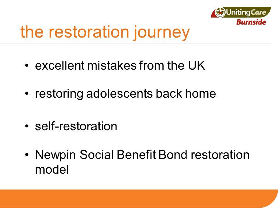 the restoration journey excellent mistakes from the UK restoring adolescents back home self-restoration Newpin Social Benefit Bond restoration model