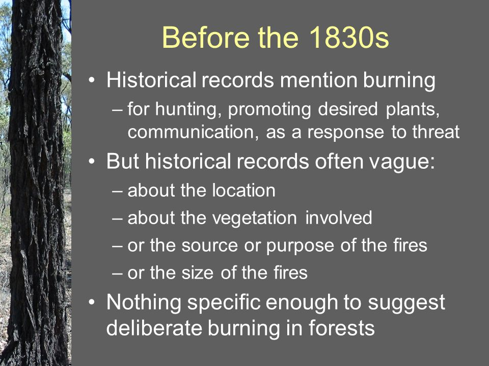 Historical records mention burning –for hunting, promoting desired plants, communication, as a response to threat But historical records often vague: