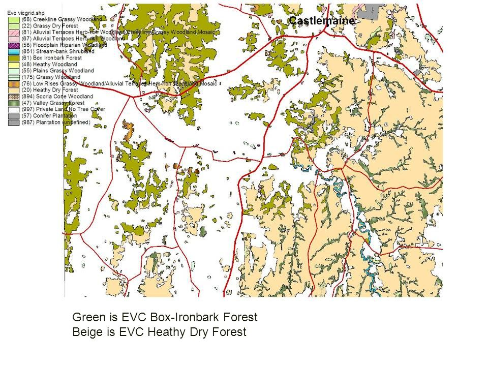 Green is EVC Box-Ironbark Forest Beige is EVC Heathy Dry Forest