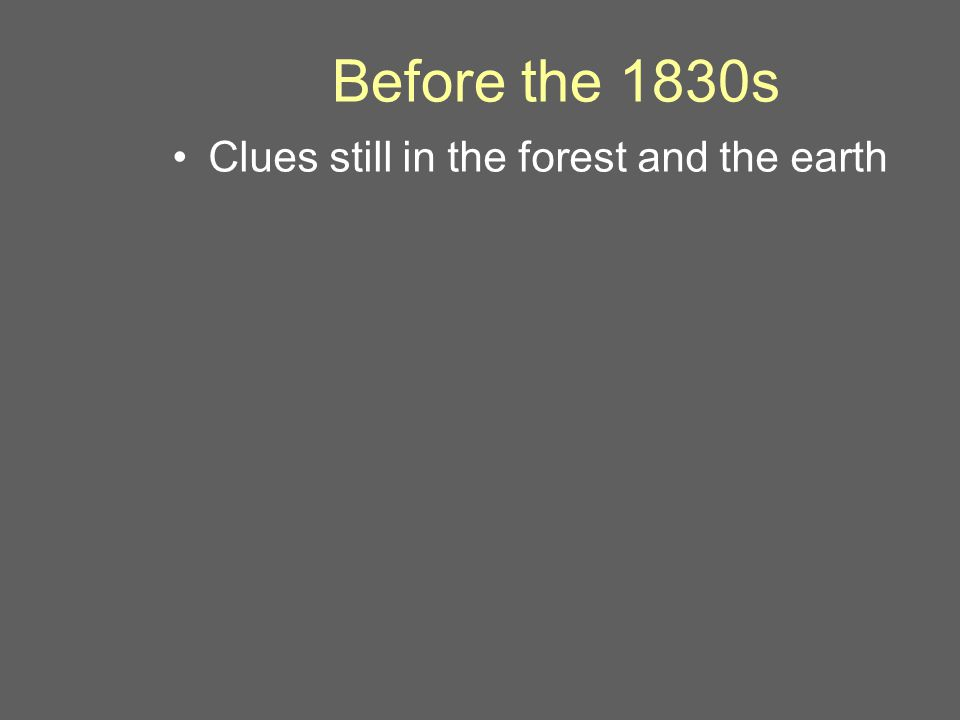 Before the 1830s Clues still in the forest and the earth