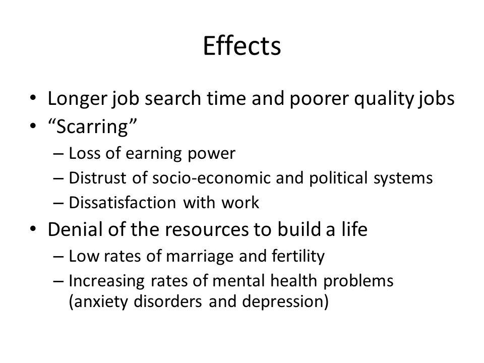 Effects Longer job search time and poorer quality jobs Scarring – Loss of earning power – Distrust of socio-economic and political systems – Dissatisfaction with work Denial of the resources to build a life – Low rates of marriage and fertility – Increasing rates of mental health problems (anxiety disorders and depression)