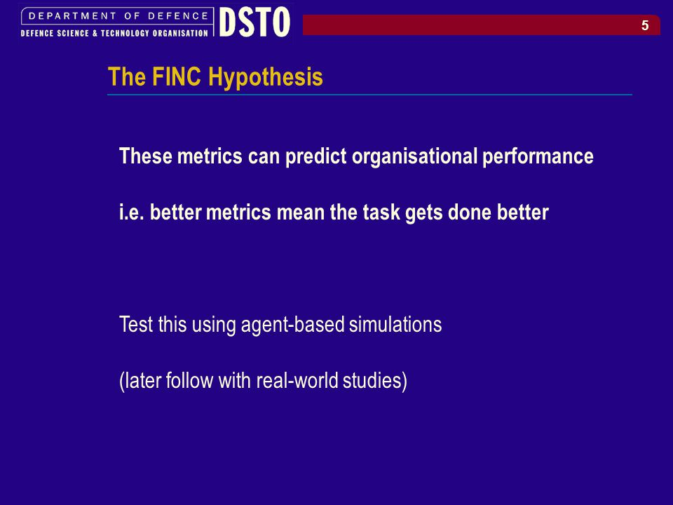 5 The FINC Hypothesis These metrics can predict organisational performance i.e.