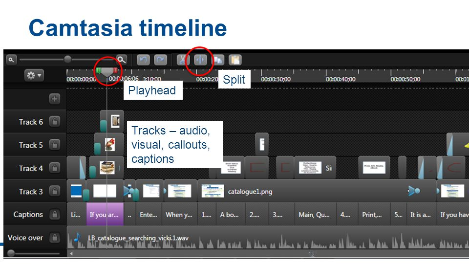Camtasia timeline 12 Playhead Split Tracks – audio, visual, callouts, captions