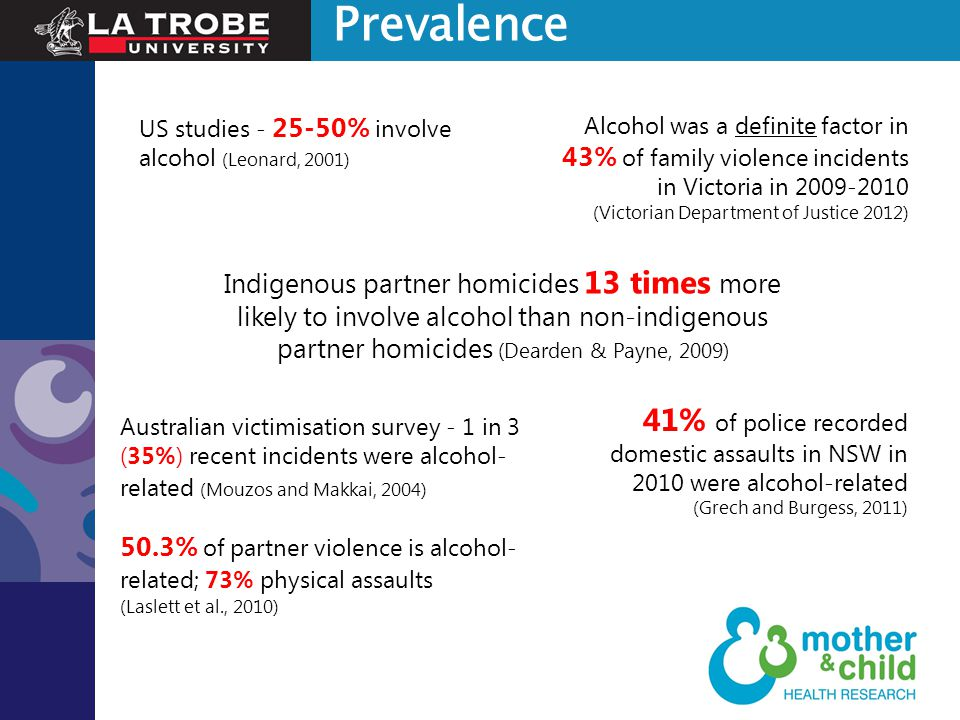 Indigenous partner homicides 13 times more likely to involve alcohol than non-indigenous partner homicides (Dearden & Payne, 2009) US studies - 25-50%