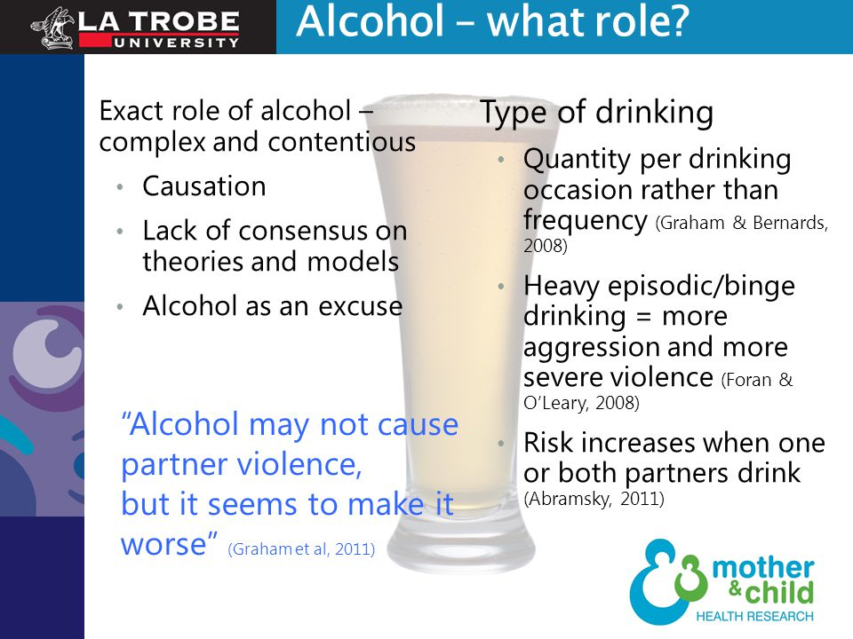 Exact role of alcohol – complex and contentious Causation Lack of consensus on theories and models Alcohol as an excuse Type of drinking Quantity per