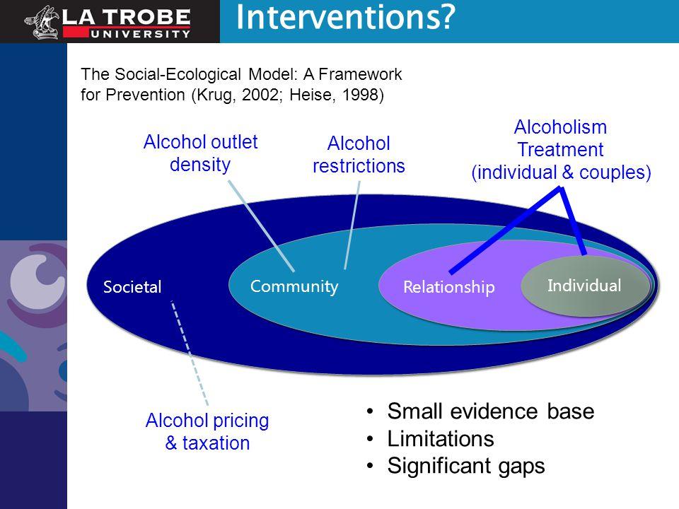 Interventions? Individual Societal Community Relationship The Social-Ecological Model: A Framework for Prevention (Krug, 2002; Heise, 1998) Alcoholism