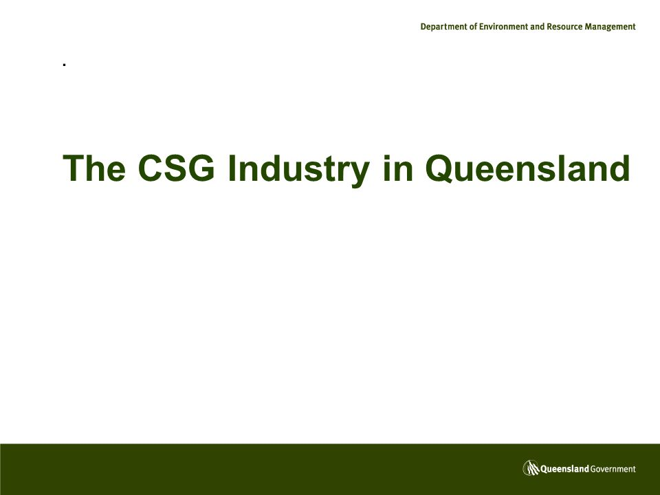 . The CSG Industry in Queensland