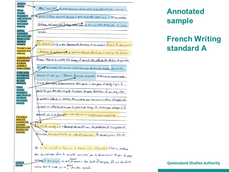 Annotated sample French Writing standard A