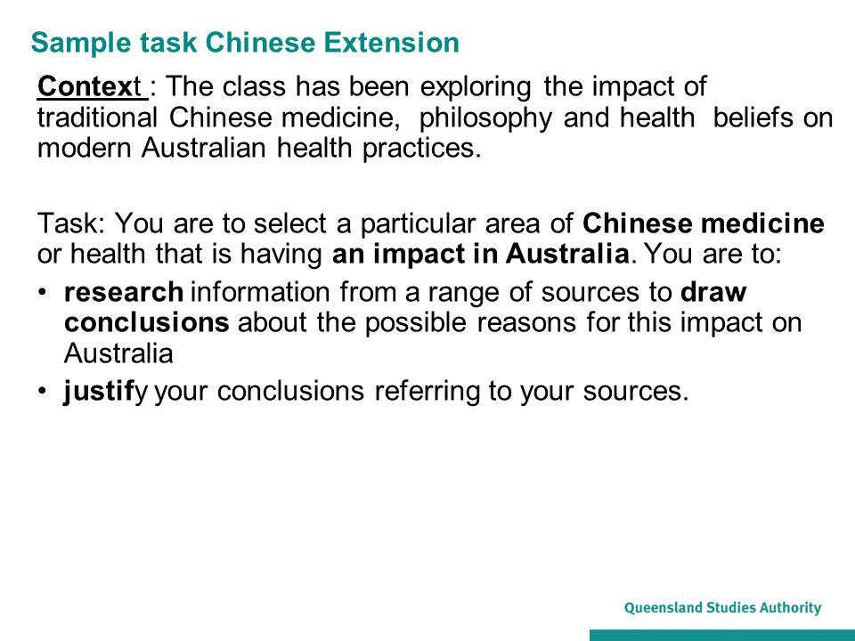 Sample task Chinese Extension Context : The class has been exploring the impact of traditional Chinese medicine, philosophy and health beliefs on mode